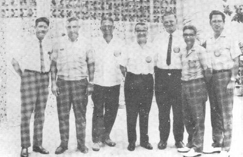 A few of the Past Presidents of the Rotary Club of Guam, who were present at a recent luncheon, pose for Vic Olsen's camera. Left to right: Herb Johnston, Al Minot, Phil Lomax, Bob Barry, Norm Flockman, Jim Alger(incumbent) and Carlos Taitano.